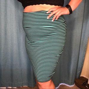 Torrid foldover pencil skirt striped